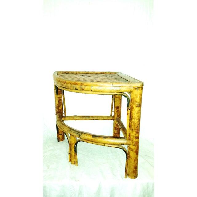 Vintage Scorched Bamboo Corner Shelf For Sale - Image 7 of 8