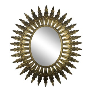 Gilt Metal Oval Sunburst Mirror For Sale