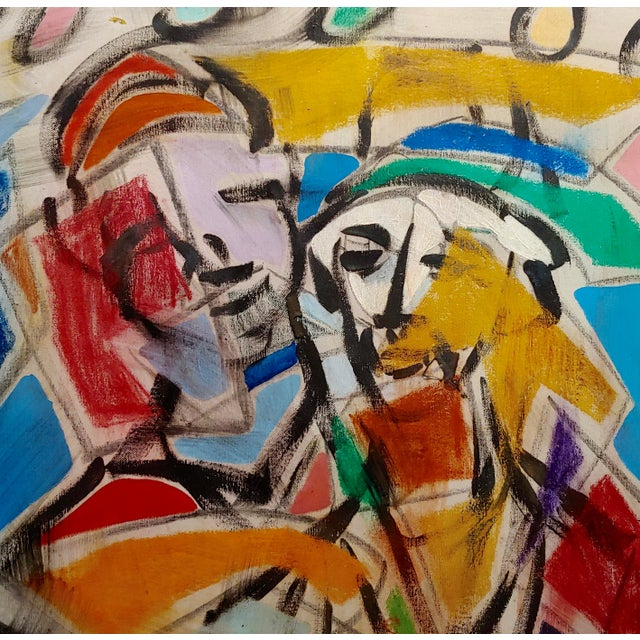 Pascal Cucaro 1960s Pascal Cucaro Abstract Faces in a Landscape Oil Painting For Sale - Image 4 of 9