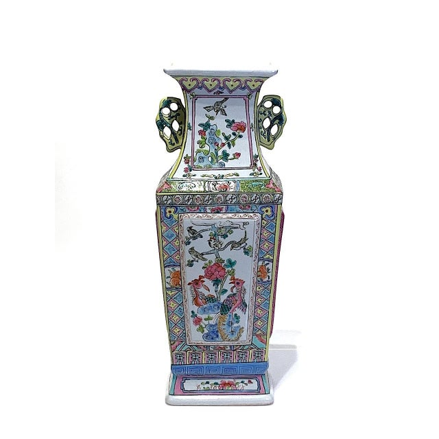 Mid 20th Century Large Chinese Famille Rose Square-Form Vase With Birds and Ducks For Sale - Image 10 of 10