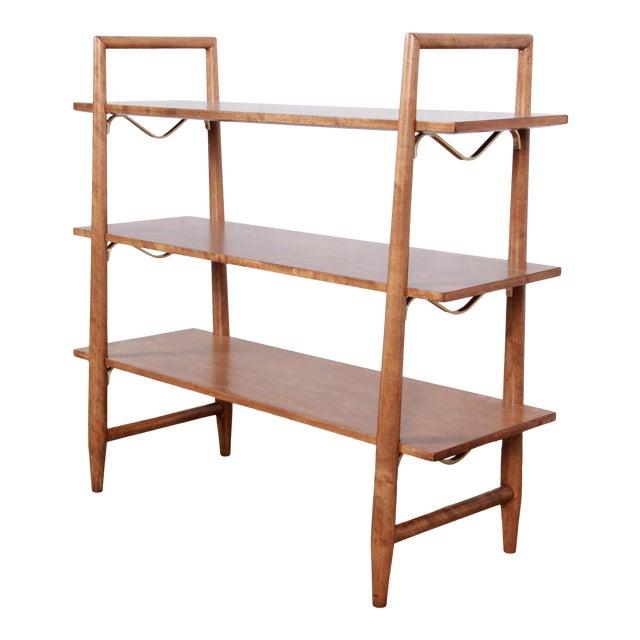 Robsjohn-Gibbings for Widdicomb Mid-Century Modern Maple and Brass Bookcase For Sale