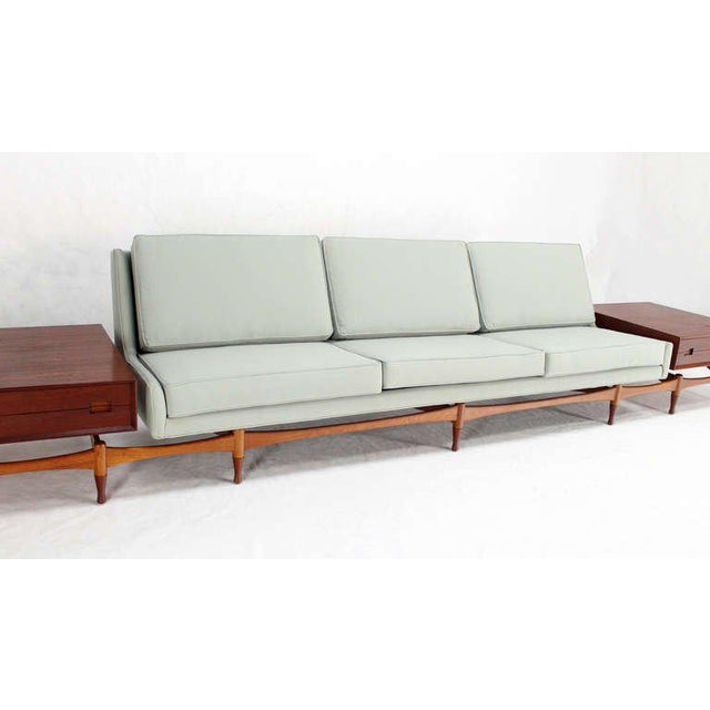Teak Danish Mid Century Modern Sofa With Built in Teak End Side Tables For Sale - Image 7 of 10