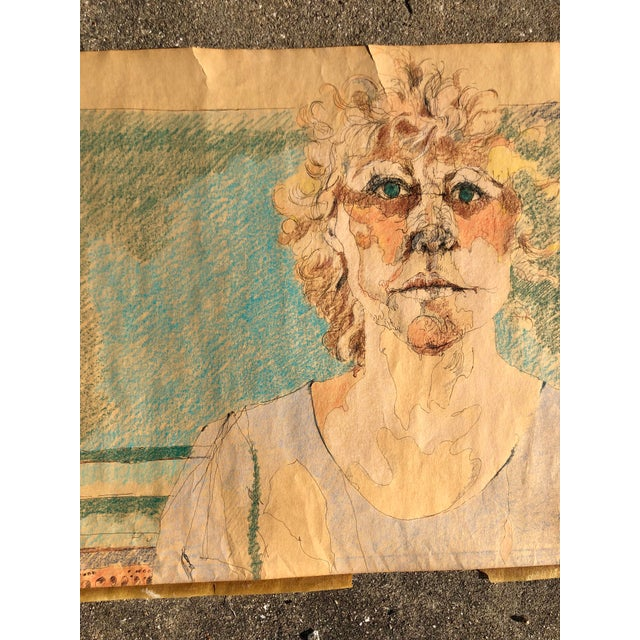 Portraiture Vintage Pencil Drawing of a Woman in Shades of Blue and Green For Sale - Image 3 of 4