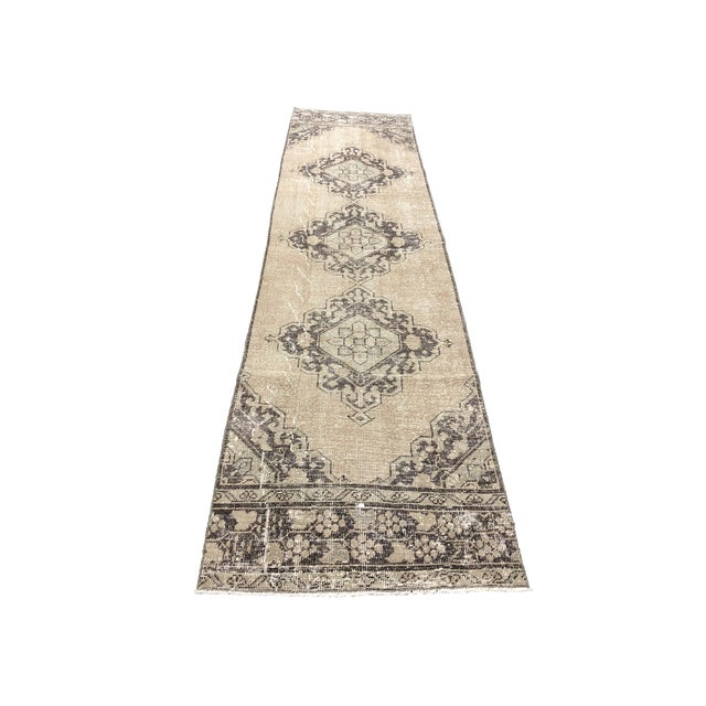 Oushak Handknotted Tribal Runner Rug - 2′9″ × 11′4″ For Sale