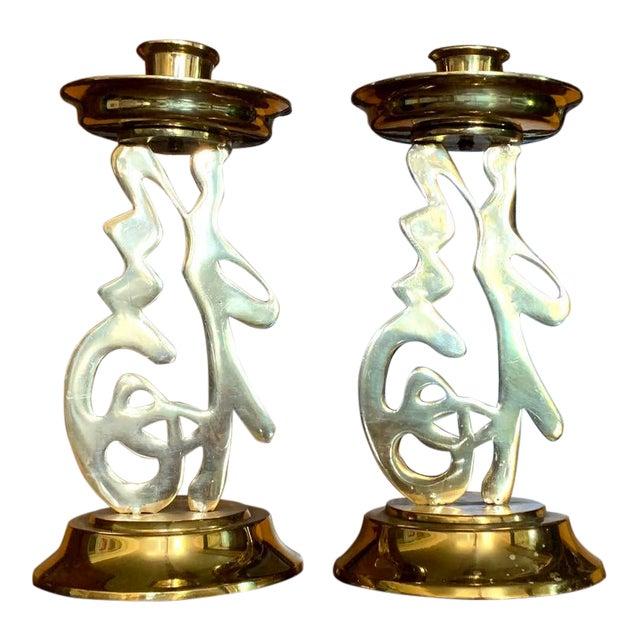 Brass Asian Candlesticks, Figural Letters, Vintage Design For Sale