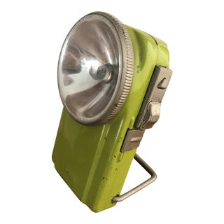 Vintage French Industrial Field Lamp Lime Green For Sale