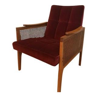Burgundy Tufted Velvet Teak Cane Chair