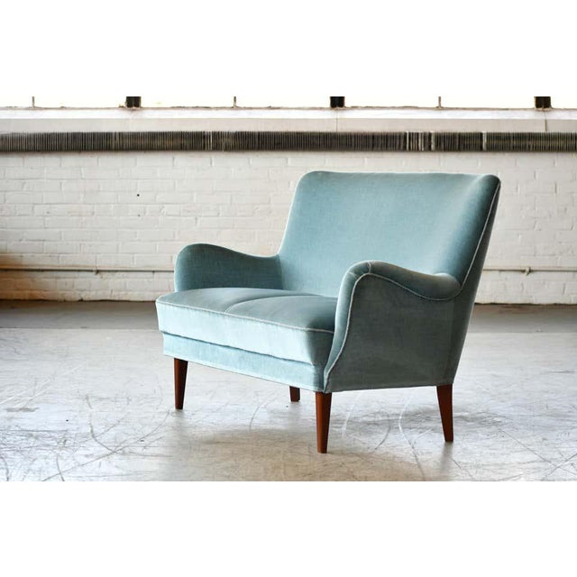 Classic Frits Henningsen Style Settee or Loveseat Danish Midcentury For Sale In New York - Image 6 of 10
