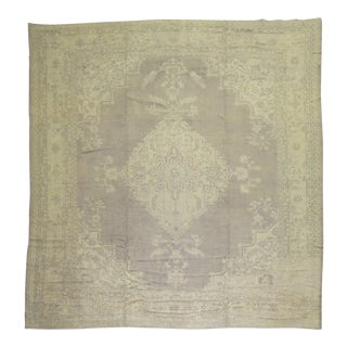 Gray Antique Square Oushak Rug, 11' X 12'6'' For Sale