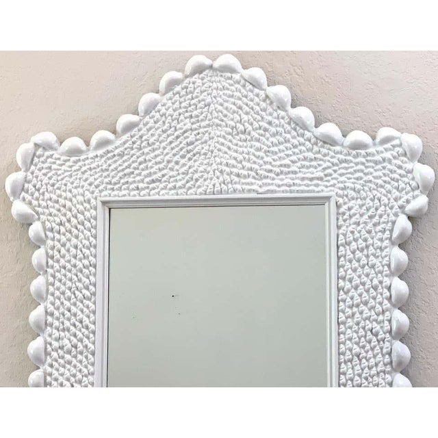 Large Mid Century Serge Roche Style Shell Encrusted Mirror, A unique version with stylised shell border with numerous...