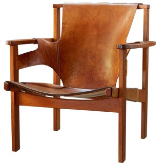 1950s Vintage Carl Axel Acking 'Trienna' Chair in Patinated Brown Leather For Sale