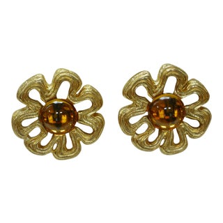 1970s Givenchy Gold-Plated & Glass Amber Bow Earrings For Sale