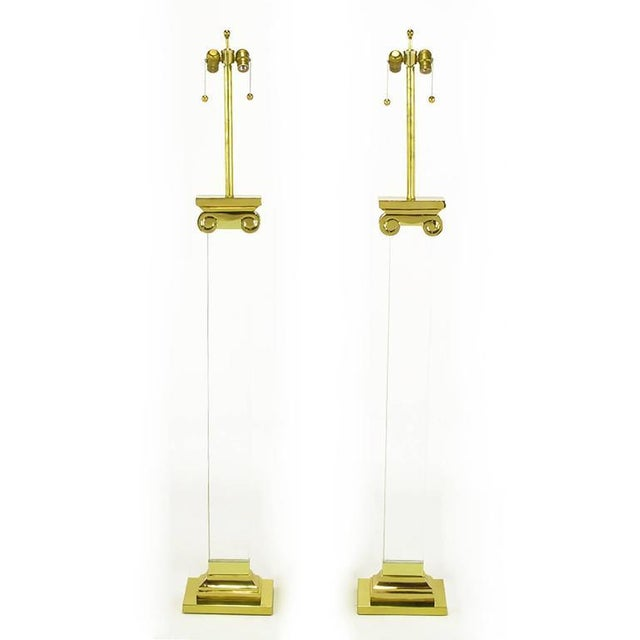 Pair Lucite and Brass Neoclassical Ionic Column Floor Lamps - Image 4 of 8