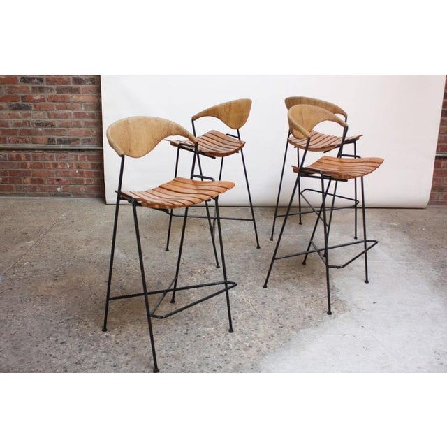 Set of Four Rush and Iron Stools by Arthur Umanoff for Raymor - Image 10 of 11