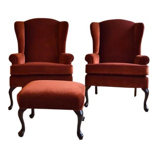 Vintage Velvet Wingback Chairs With Ottoman- 3 Pieces For Sale