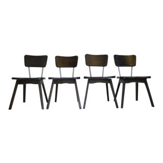 Hickory & Chrome Chairs in Ebony - Set of 4