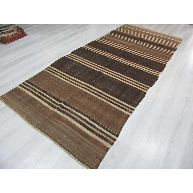 Neutral Striped Turkish Kilim Rug - 5′2″ × 11′6″ For Sale - Image 5 of 6