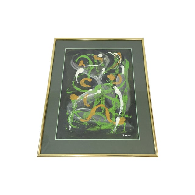 Lisa Rhana Untitled Abstract Green Oil on Paper - Image 1 of 6