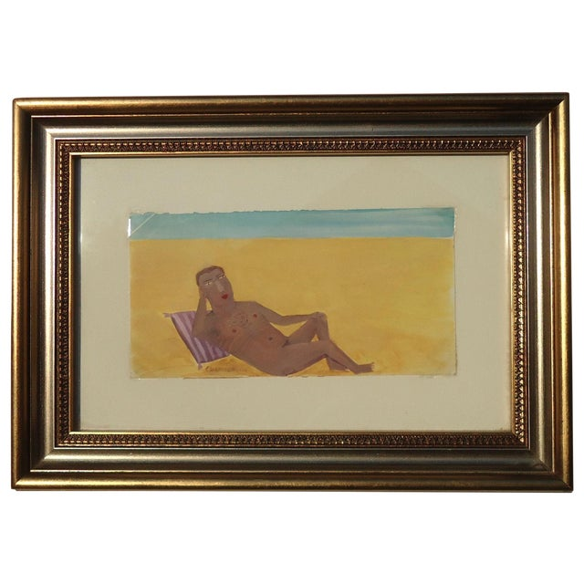 Reclining Male Nude at Beach by Ann Chamberlin - Image 1 of 4