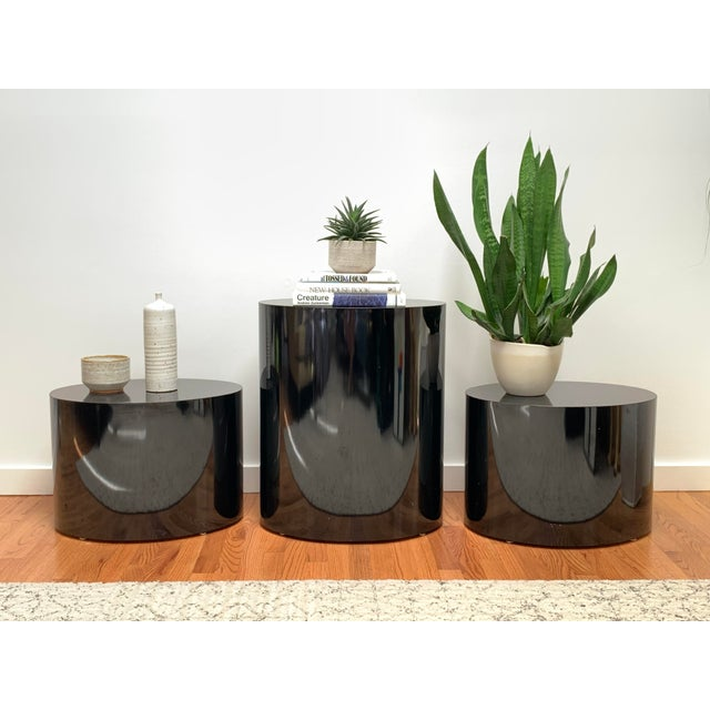1980s Black Laminate Oval Drum Tables-A Pair For Sale - Image 10 of 11