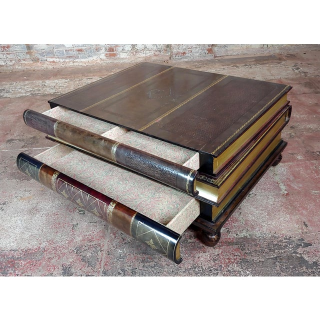 Maitland-Smith Stacked Leather Books Form Coffee Table For Sale - Image 9 of 11