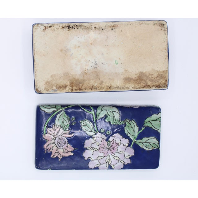 Antique Asian Ceramic Floral Peonies Jewelry Box For Sale - Image 11 of 13