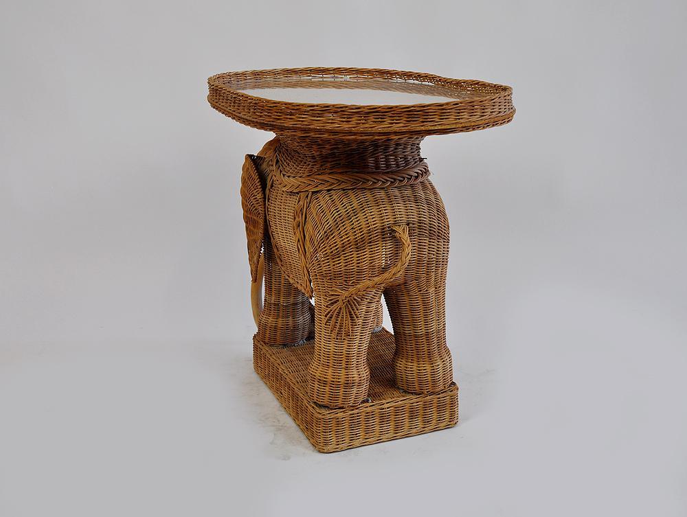 Vintage Rattan Wicker Elephant Side Table   Image 7 Of 7
