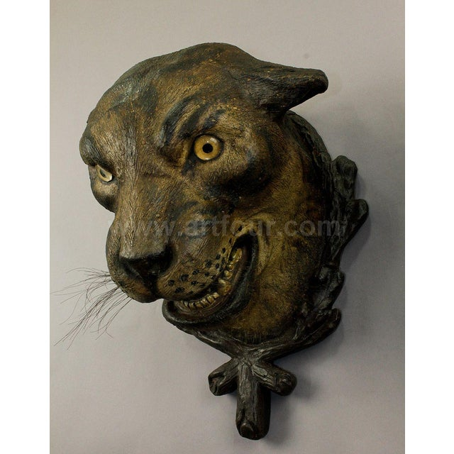 A Gorgeous Pair Of Leopard Heads, Austria Ca. 1890 For Sale - Image 6 of 12