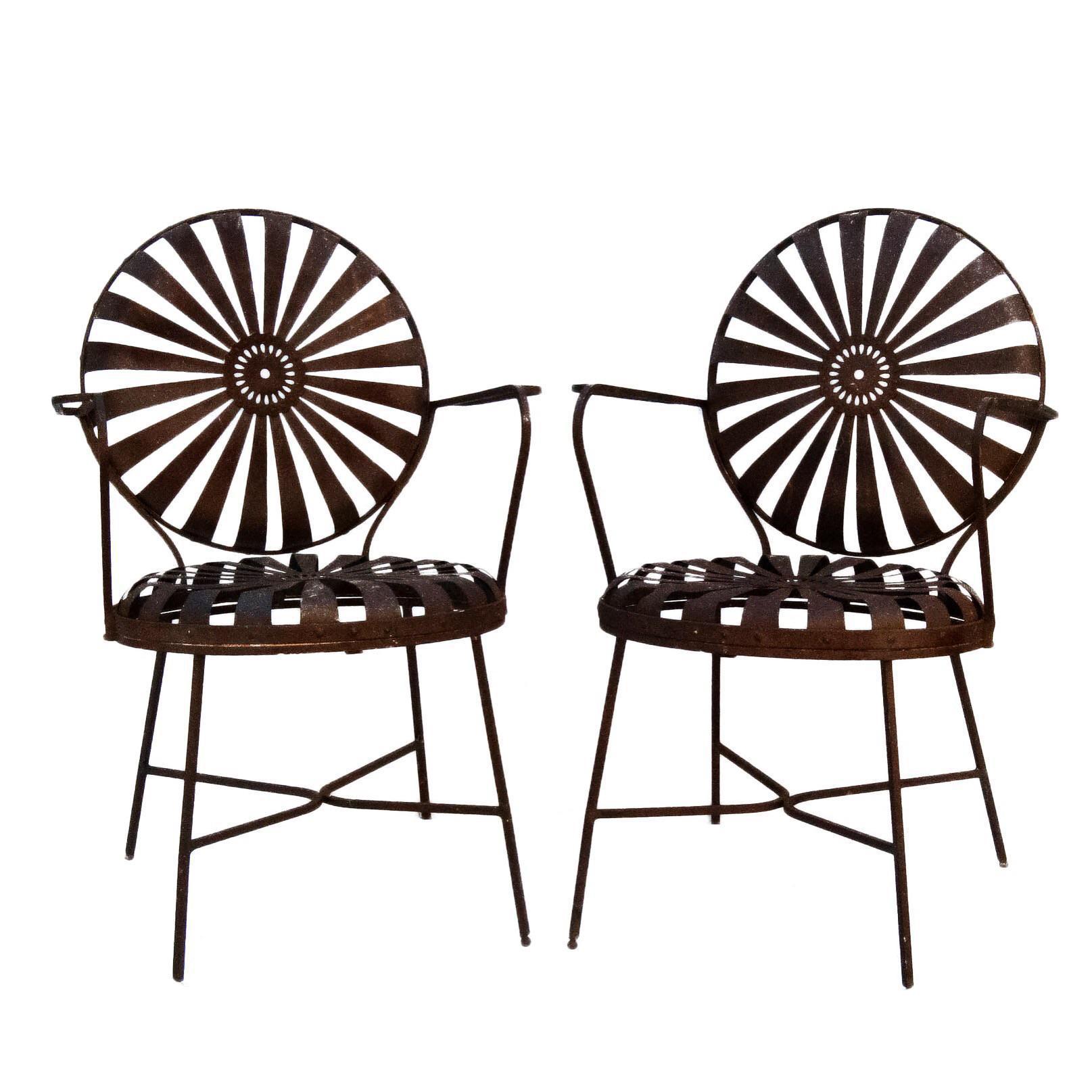 francois carre iron sunburst garden chairs a pair chairish rh chairish com
