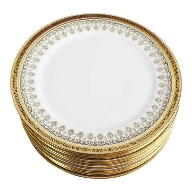 Cauldon White & Gold Lunch Plates - Set of 10 For Sale