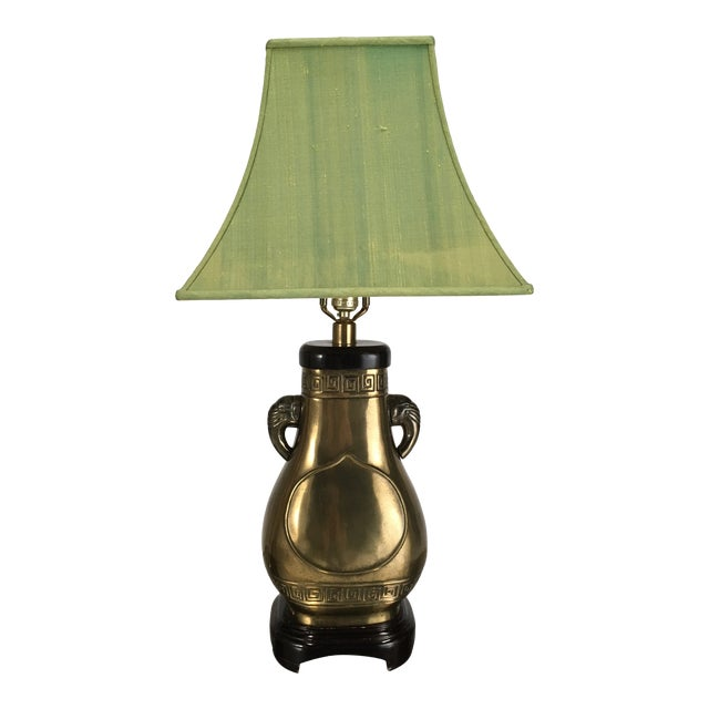 Brass Paul Hanson Elephant Lamp With Green Pagoda Style Shade For Sale