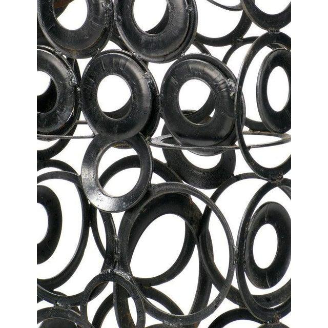 1960s 4' Metal Sculpture Of Man - Welded Steel Rings For Sale - Image 5 of 5