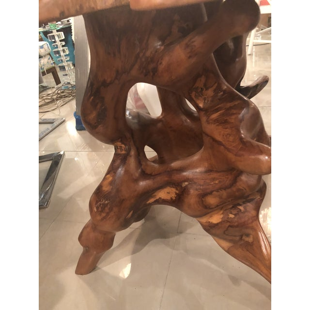 1960s Vintage Mid-Century Modern Freeform Cypress Tree Root Trunk Dining Center Table Base For Sale - Image 5 of 13