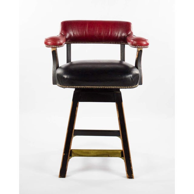 Have a jolly good time like a true English pub patron with this 20th c. Old Hickory Leather Tannery bar stool. It has a...