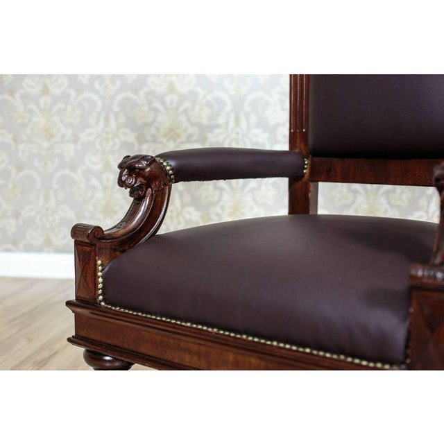 1920s Circa 1920 Oak Armchair Throne For Sale - Image 5 of 9