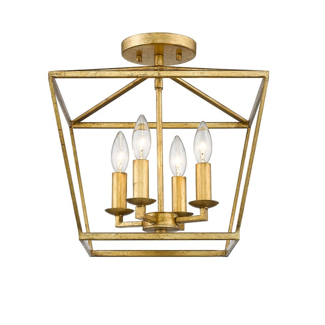 Metal Ponce City 4 Light Semi-Flush Pendant, Gilded Gold or Pendant For Sale - Image 7 of 7