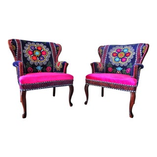 Vintage Suzani Embroidery Blue & Pink Wing Back Arm Chairs - a Pair