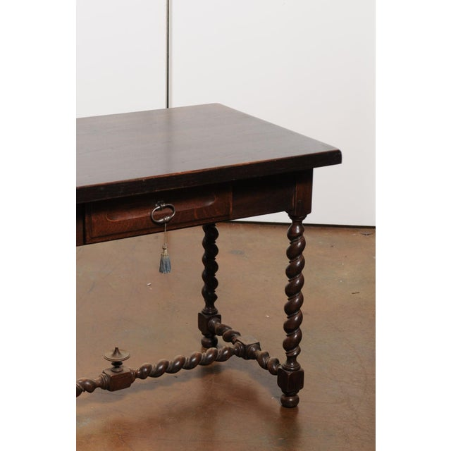 Wood French Walnut Louis XIII Style Desk with Barley Twist Base from the 19th Century For Sale - Image 7 of 13