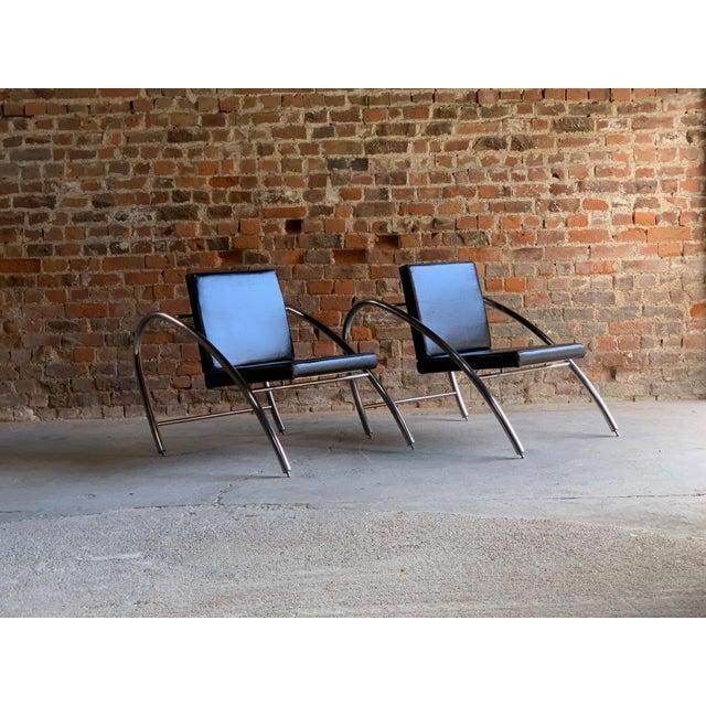 Nemo Editions (Alain Domingo & Francois Scali) Moreno Chrome & Leather Lounge Chairs by Francois Scali & Alain Domingo for Nemo - A Pair For Sale - Image 4 of 12