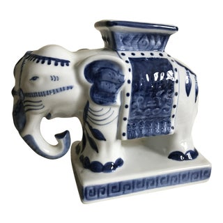 Blue & White Ceramic Elephant Incense Burner