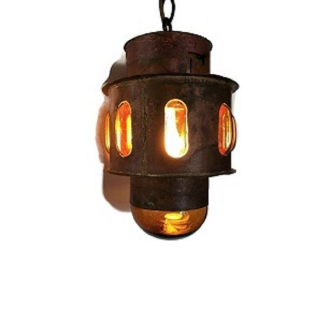 Orange Mid Century Copper and Imprisoned Amber Glass Lantern For Sale - Image 8 of 9