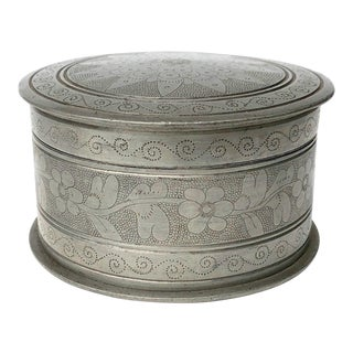 Early 20th Century Banka Blinjoe Engraved Pewter Box For Sale