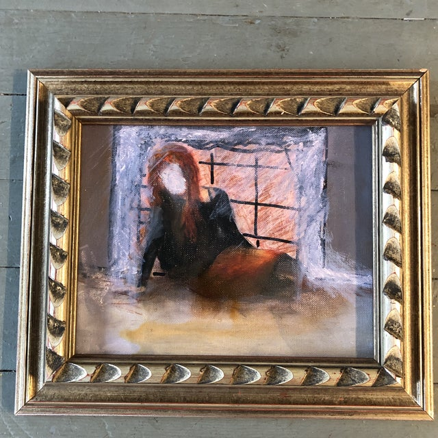 Original Vintage Abstract Painting Girl in Interior Painting For Sale - Image 4 of 4