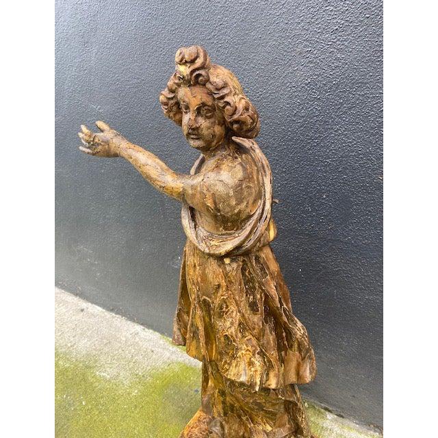 18th Century Italian Giltwood Figure For Sale - Image 11 of 13