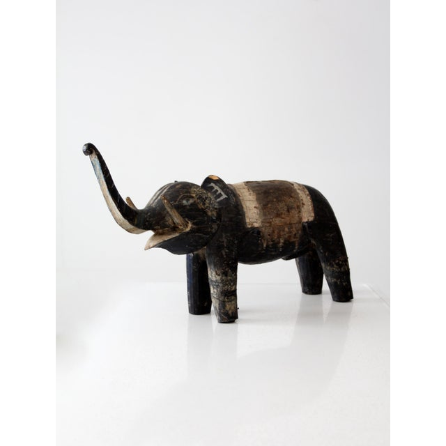 Asian Antique Wooden Elephant For Sale - Image 3 of 10