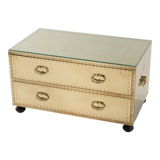 1970s Spanish Sarreid Brass Clad Two-Drawer Chest For Sale