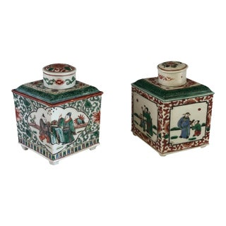 Chinese Enameled Famille Rose Tea Caddies - a Pair For Sale