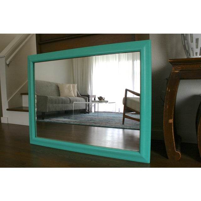 Modern 1970s Boho Chic Aqua Framed Wall Mirror For Sale - Image 3 of 6
