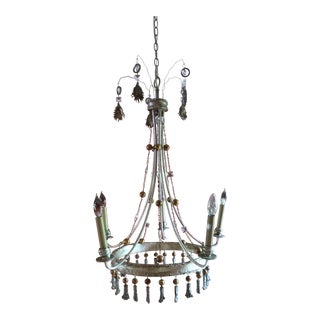 Silver and Gold Painted Chandelier by Flambeau For Sale