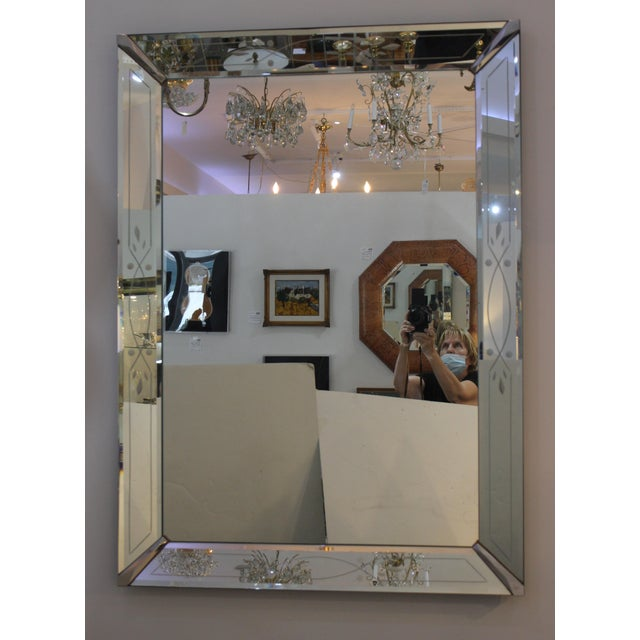 This large scale, stylish American art deco wall mirror dates to the 1930-1940s and was acquired from an estate in South...